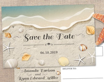 Water's Edge Shells and Sand Beach Save the Date Postcard or Flat Card Announcement; Printable, Evite or Printed (US Only) Cards