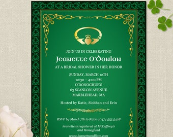 "Printable Claddagh Ring Celtic Knots Irish Bridal Wedding Shower Invitation Template, Two 5""x7"" Invitations, Editable PDF instant Download"