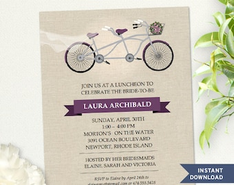 Tandem Purple Bicycle Faux Linen Bridal Wedding Shower Invitation; Instant Download Editable PDF