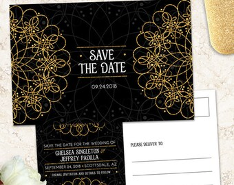 Elegant Mandala Faux Gold and Black Wedding Save the Date, Printable, Evite or Printed Postcards or Flat Card Announcements