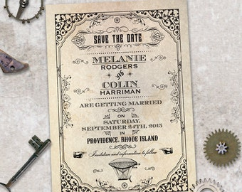 Steampunk Save the Date Wedding Flat Card or Postcard Announcements; Printable, Evite or Printed (US Only) Cards