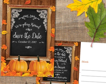 Rustic Autumn Pumpkin and Leaves Chalkboard Frame Save the Date Flat Card or Postcard, Printable, Evite or Printed (US Only) Announcements