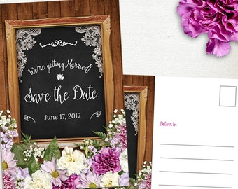 Rustic Spring Flowers Chalkboard Frame Save the Date Postcard or Flat Card, Printable, Evite or Printed (US Only) Announcements