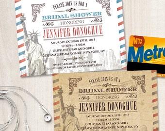 Vintage New York City Bridal Wedding Shower Invitation, Printable, Evite or Printed (US Only) Invitations