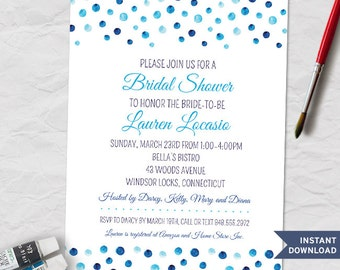 Printable Blue Watercolor Polka Dot Bridal Wedding Shower Invitation Template; Instant Download Editable PDF