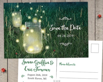 Rustic Meadow Summer Night Mason Jar and Fireflies Wedding Save the Date Postcard or Flat Card, Printable, Evite or Printed Announcements