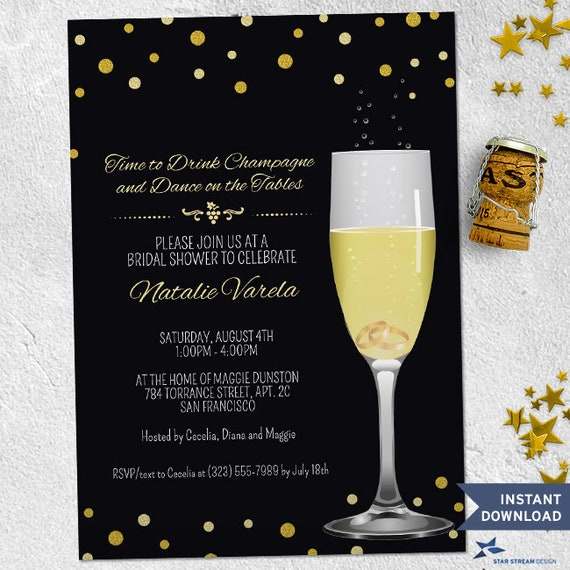 d59c5bf2c2ac Printable Wedding Rings in Champagne Glass Gold Glitter Look Bridal Wedding  Shower Party Invitation Template