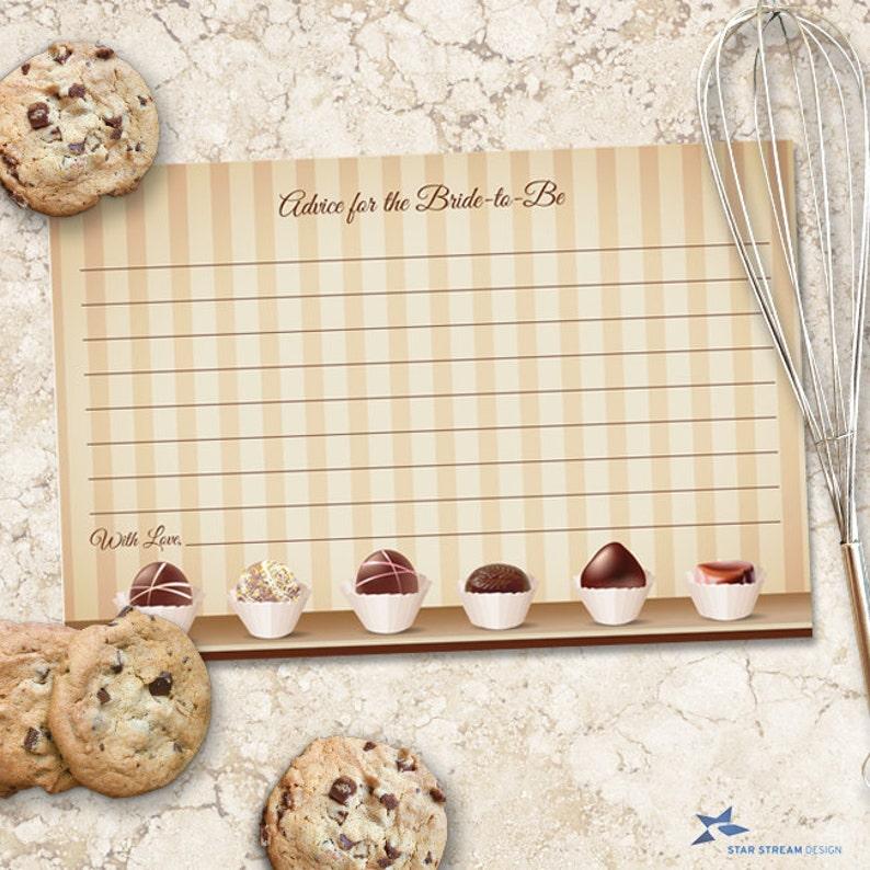 Instant Download JPG Chocolate Decadence Bridal Wedding Shower Advice Card