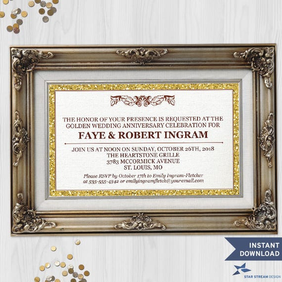 Printable Faux Glitter Picture Frame Gold 50th Wedding Anniversary