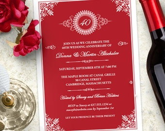 Medallion Anniversary Party Invitation, Printable, Evite or Printed (US Only) Invitation