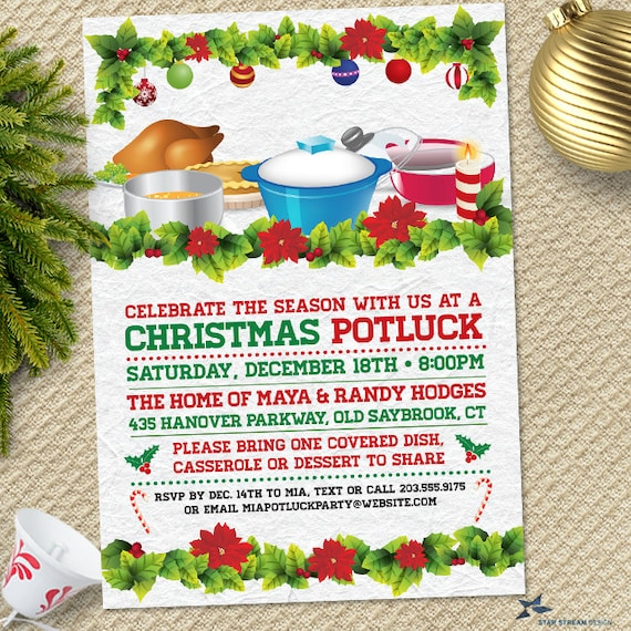 retro christmas holiday potluck dinner party invitation etsy