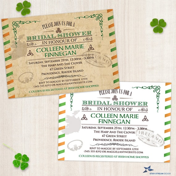 211cefcbc967 Vintage Irish Bridal Wedding Shower Invitation