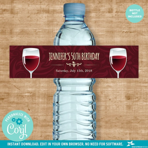 Wine Glasses Water Bottle Labels Vineyard Winery Celebration Birthday Bridal Shower 8x2 Digital Template Edit Online Print By Star Stream Design Catch My Party