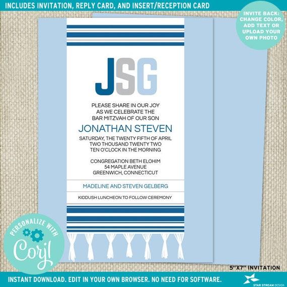 Blue Monogram Tallit Bar Bat Mitzvah Suite Invitation