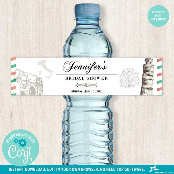Italian White Background Water Bottle Labels Wedding Bridal Shower Birthday Party 8x2 Editable Digital Template Edit Online Print By Star Stream Design Catch My Party