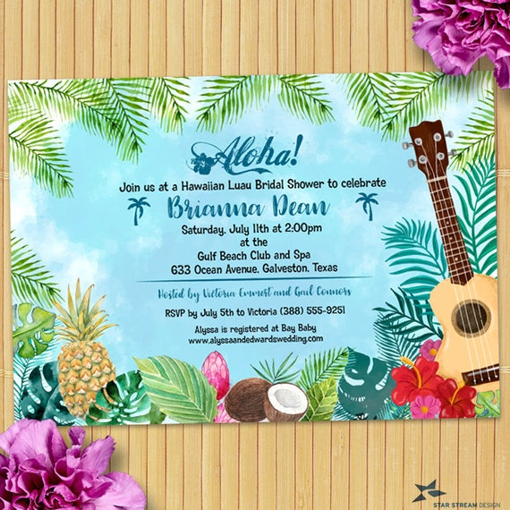 Watercolor Hawaiian Luau Party Invitation Birthday Bridal