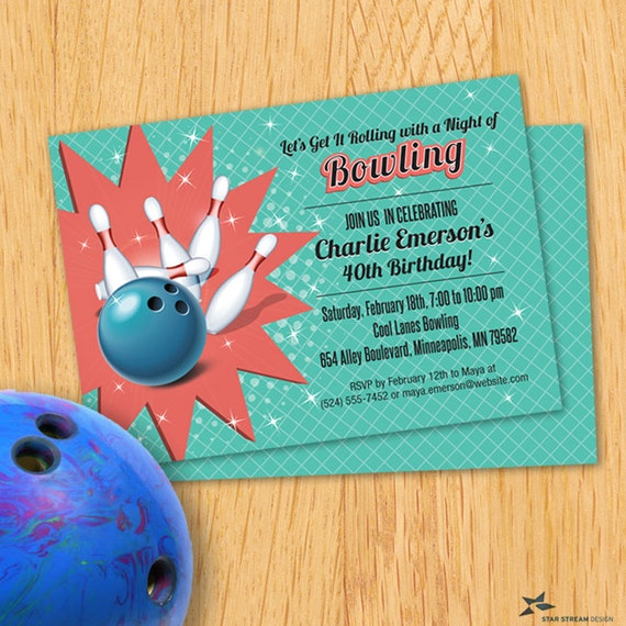 Retro Bowling Party Invitation Printable Evite Or Printed US Only Invitations