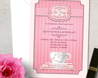 Pink Bridal Wedding Shower Tea Party Invitation; Printable, Evite or Printed (US Only) Invitations