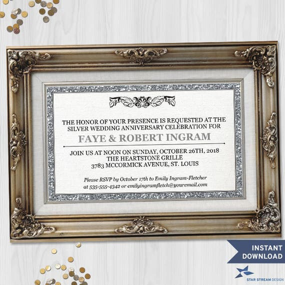 Printable Faux Glitter Picture Frame Silver 25th Wedding