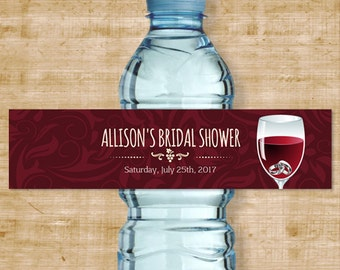 "Printable Rings in Wine Glass Water Bottle Labels, Bridal Wedding Shower; Personalized 8""x2"" Labels, Editable PDF, Instant Download"