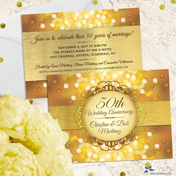 Metallic Bokeh Golden 50th Wedding Anniversary Party Invitation
