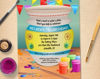 Pottery Painting Birthday Party Invitation, Printable, Evite or Printed (US only) Invitations