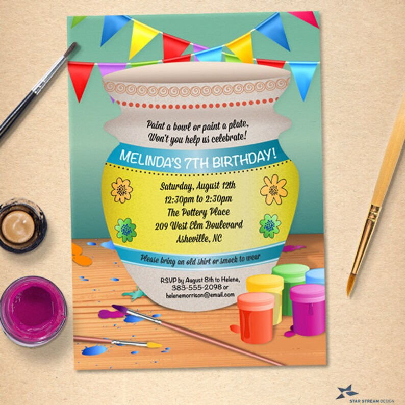 Pottery Painting Birthday Party Invitation Printable Evite
