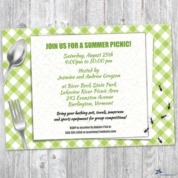 printable green gingham summer picnic with ants party invitation