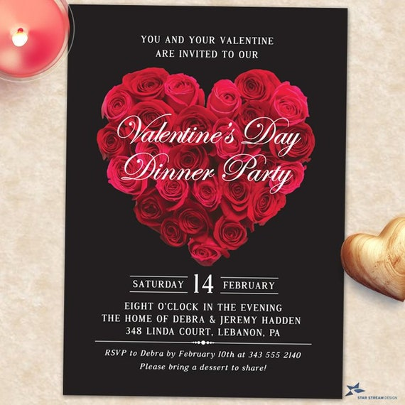 Red Rose Heart Engagement Party Valentines Day Invitation