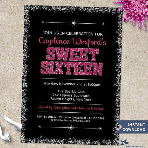Printable Sparkling Edge Pink Glitter Look Sweet 16 Birthday Party Invitation Template Two 5x7 Invitations Editable PDF Instant Download