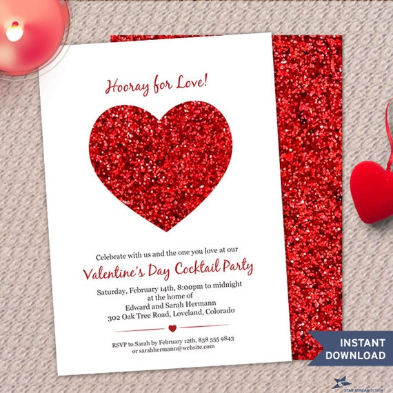Printable Red Glitter Look Heart Valentines Day Party