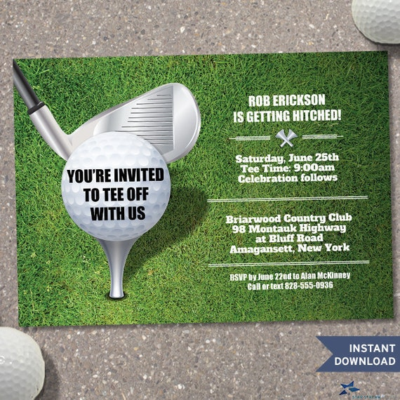 printable tee off bachelor party golf outing invitation template