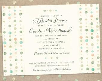 Subtle Polka Dot Columns Bridal Wedding Shower Invitation; Printable, Evite or Printed (US Only) Invitations