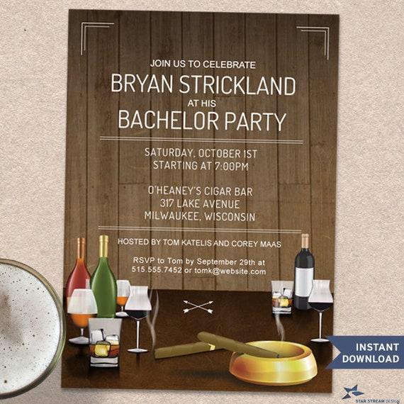 Printable Rustic Cigars And Scotch Bachelor Stag Night Birthday