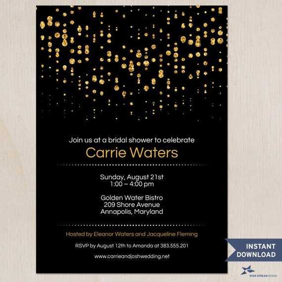 "Printable Gold Glitter Look Confetti Rain Invitation Template; Bridal or Wedding Shower, Two 5""x7"" Invites, Editable PDF Instant Download"