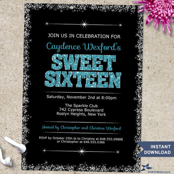 Printable Sparkling Edge Blue Glitter Look Sweet 16 Birthday Party