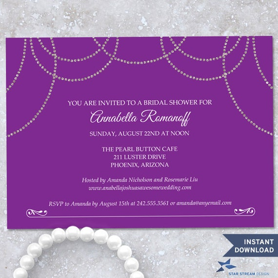 aea46800a992 Printable Hanging Faux Silver Glitter Pearls Purple Bridal Shower Party  Invitation Template