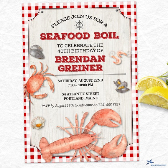 Seafood Boil Red Gingham And Wood Party Invitations Printable Evite Or Printed US Only