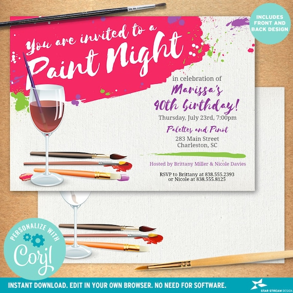 Paint Night Paint And Sip Wine Glass Canvas Party Invitation Etsy