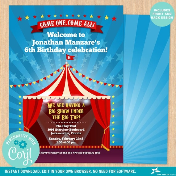 Under the Big Top Circus Tent Carnival Birthday Party