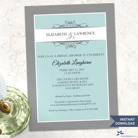 "Printable Modern Aqua Decorative Bridal Shower Special Occasion Party Invitation Template, Two 5""x7"" Invites, Editable PDF instant Download"
