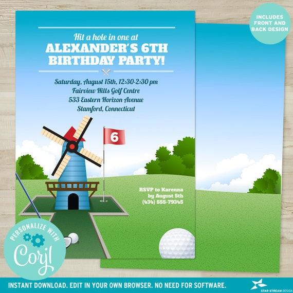 Printable Windmill Mini Golf Birthday Party Invitation