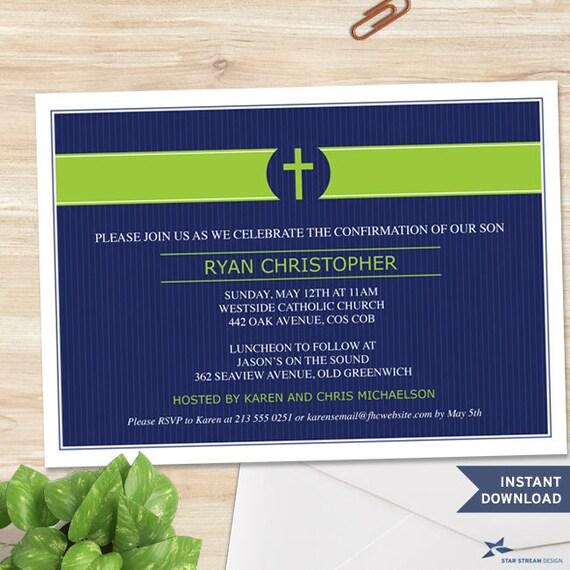 Printable Green Cross Band Blue Pinstripe Invitation Template