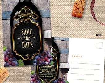 Rustic Vineyard Winery Save the Date Postcard or Flat Card, Printable, Evite or Printed (US Only) Announcements