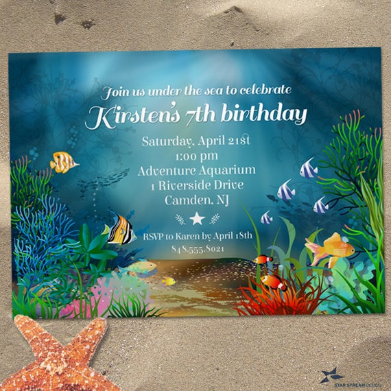 Ocean Reef Under The Sea Birthday Party Invitation Printable Evite Or Printed US Only Invitations