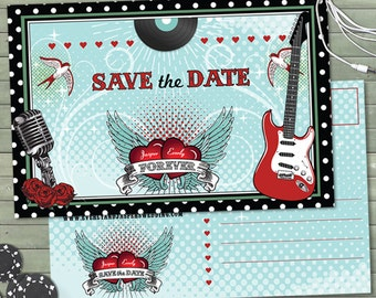 Rockabilly Music Polka Dot Wedding Save the Date Postcard or Flat Card, Printable, Evite or Printed (US Only) Announcements