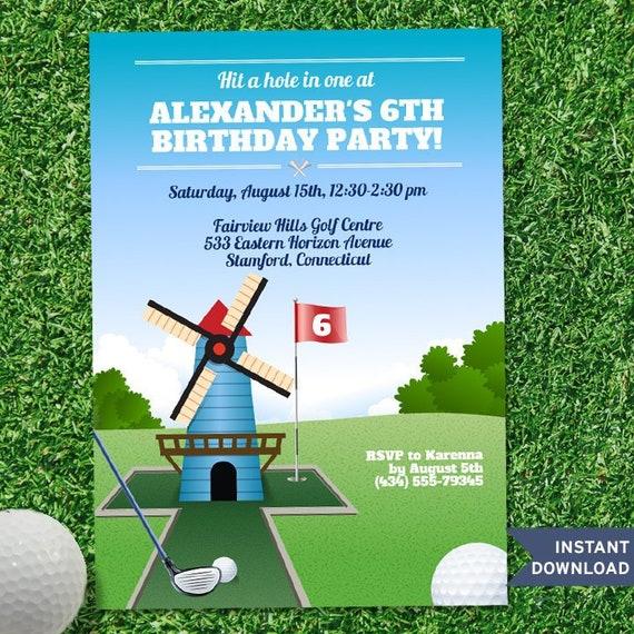 printable windmill mini golf birthday party invitation template 5