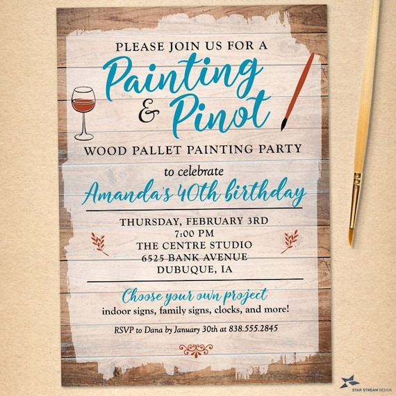 Wood Pallet Sign Painting Party Invitation For Birthday Shower Girls Night Out Printable Evite Or Printed US Only Invitations