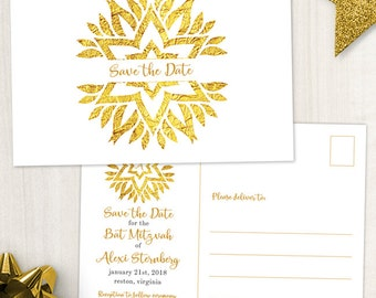 Gold Foil Look Star Mandala Bat Mitzvah Save the Date Postcard or Flat Card; Printable, Evite or Printed (US Only) Announcements