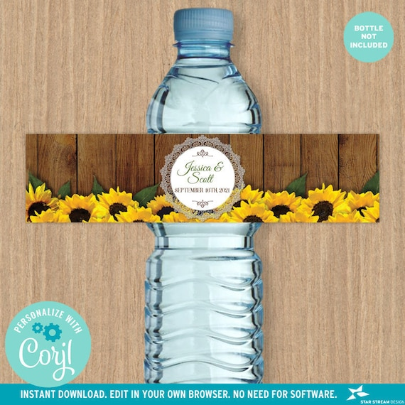 Rustic Watercolor Sunflower And Lace Water Bottle Label Bridal Shower Wedding Birthday 8x2 Editable Template Edit Online Print By Star Stream Design Catch My Party